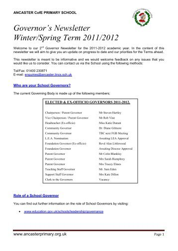 the newsletter sent out in February 2012 - Ancaster CE Primary School