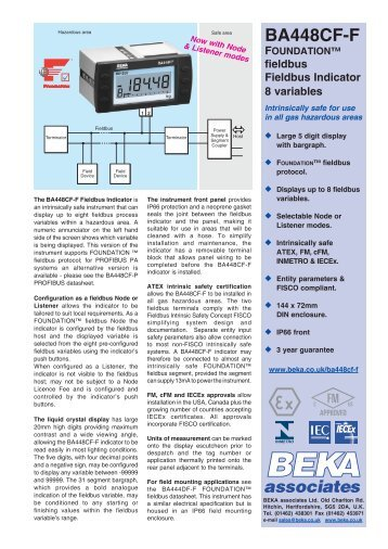 BA448CF-F FOUNDATION™ fieldbus Indicator 8 ... - BEKA Associates