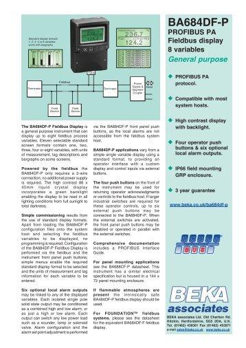 BA684DF-P PROFIBUS PA Fieldbus display 8 ... - BEKA Associates