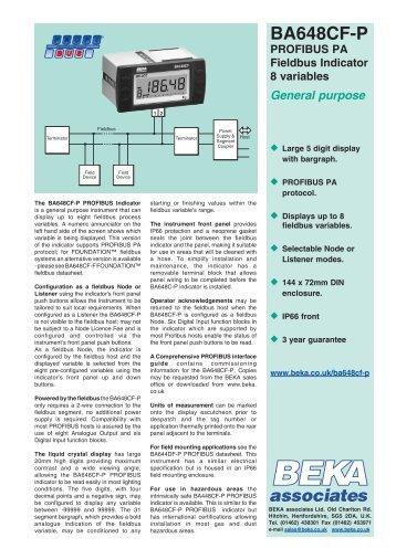 BA648CF-P PROFIBUS PA Fieldbus Indicator 8 ... - BEKA Associates