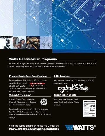 Watts Specification Programs www.watts.com ... - Clean My Water