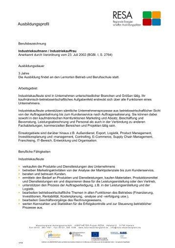 Industriekaufmann/Industriekauffrau - RESA