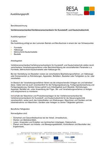 Verfahrensmechaniker/Verfahrensmechanikerin für Kunststoff - RESA
