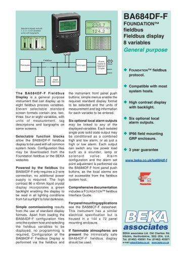 BA684DF-F FOUNDATION™ fieldbus display 8 ... - BEKA Associates