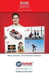 KOTAK MONEY BACK PLAN - Kotak Life Insurance - Kotak Mahindra