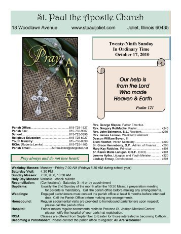 October 17 - St. Paul the Apostle Church - Diocese of Joliet