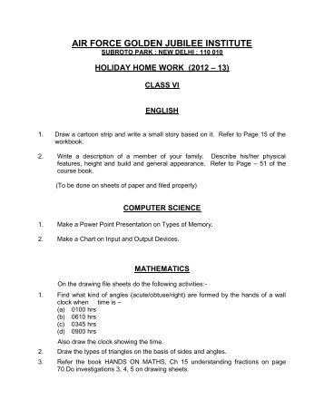 holiday home work (2012 – 13) - Air Force Golden Jubilee Institute