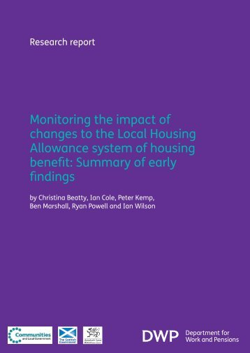 Monitoring the impact of changes to the Local Housing Allowance ...