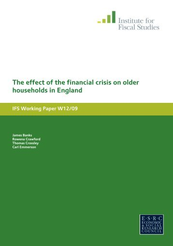 The effect of the financial crisis on older households in England IFS ...