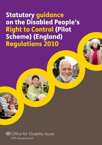 Statutory guidance on the Disabled People's Right to Control (Pilot ...