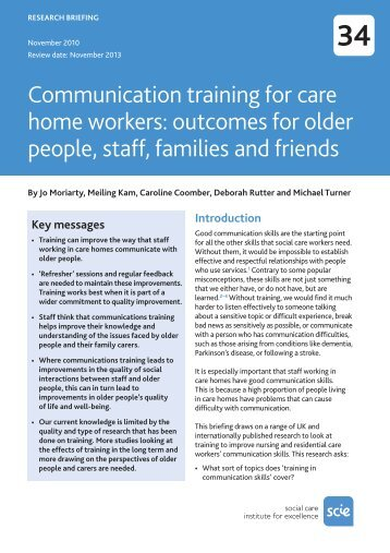 outcomes for older people, staff, families and friends - Social Welfare ...