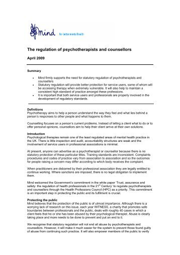 Regulation of psychotherapists and counsellors - Mind