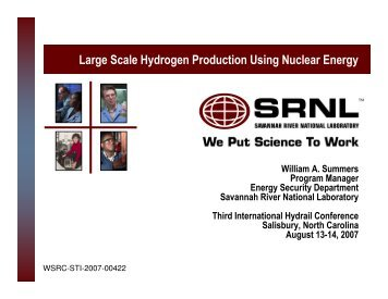 Large Scale Hydrogen Production Using Nuclear Energy