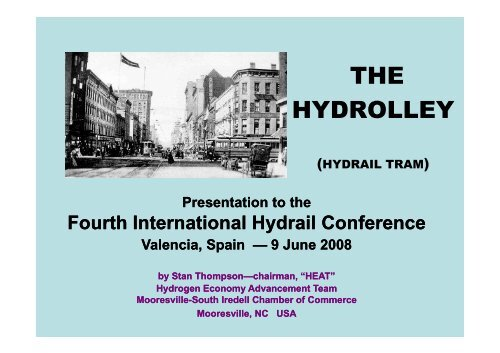THE HYDROLLEY - International Hydrail Conference