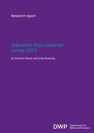 Jobcentre Plus Customer Survey 2011 - Social Welfare Portal