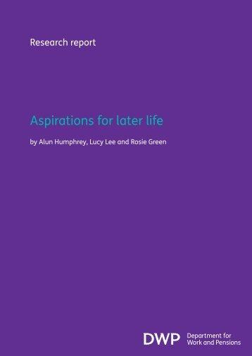 Aspirations for later life - Social Welfare Portal