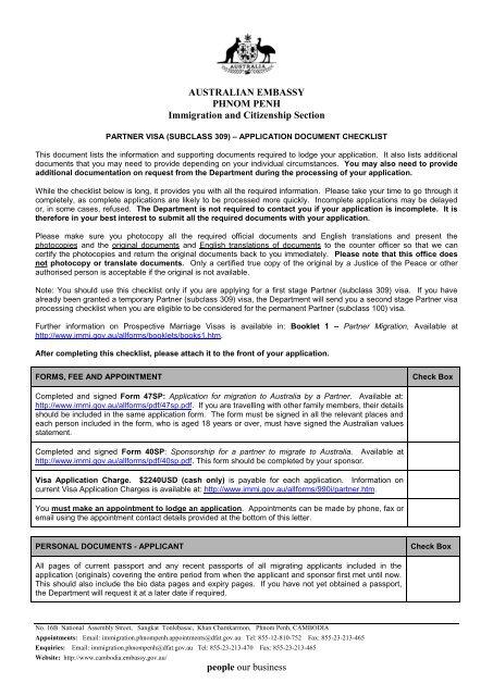Tourist Visa Subclass 676 Checklist Australian Embassy