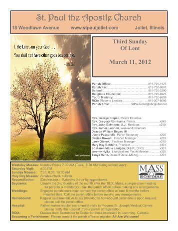 March 11 - St. Paul the Apostle Church - Diocese of Joliet