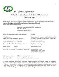 2011 Contact Information - Hawaiian International Billfish Tournament