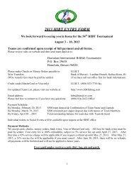 2013 HIBT ENTRY FORM - Hawaiian International Billfish Tournament