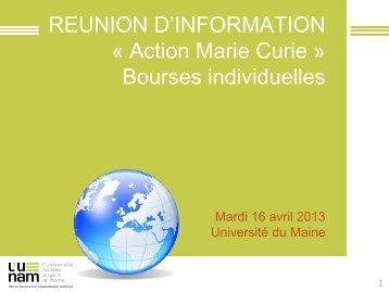 PRESENTATION - Actions Marie Curie, Bourses individuelles - 16 ...