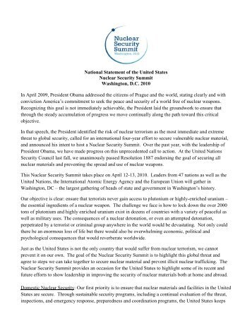 National Statement of the United States Nuclear Security Summit ...
