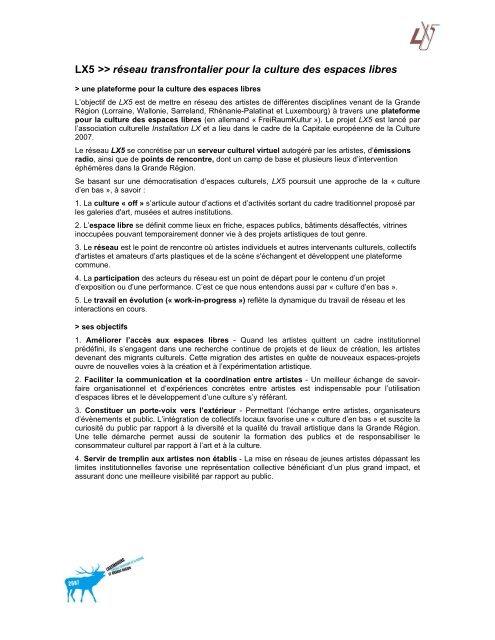 Descriptif court du projet - LX5
