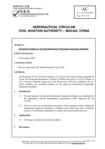 Extension/Variation of Aircraft Maintenance Programme Inspection ...
