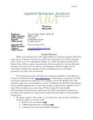MHS 6940 - Association for Behavior Analysis International