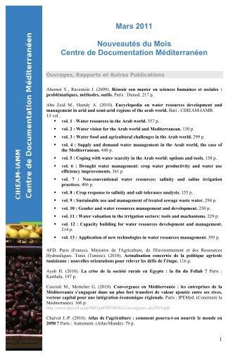 Télécharger la liste - Institut Agronomique Méditerranéen de ...