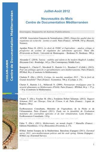 Juillet-Août 2012 - Institut Agronomique Méditerranéen de Montpellier