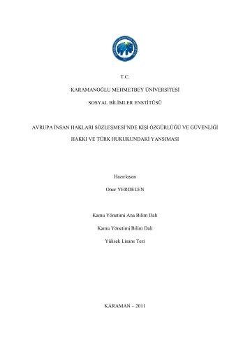 Avrupa İnsan Hakları Sözleşmesi'nde Kişi Özgürlüğü ve Güvenliği ...