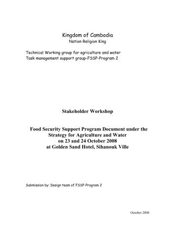 Kingdom of Cambodia Stakeholder Workshop Food Security ...