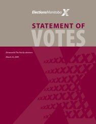 2009 Statement of Votes Elmwood/The Pas By-Elections