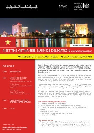 MEET THE VIETNAMESE BUSINESS DELEGATION a networking ...