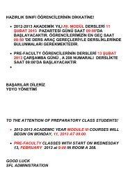 2012-2013 akademik yılı /ııı. modül dersleri 11 şubat 2013 pazartesi g