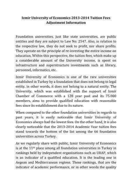 Izmir University Of Economics 2013 2014 Tuition Fees Adjustment