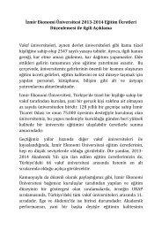 İzmir Ekonomi Üniversitesi 2013-2014 Eğitim Ücretleri Düzenlemesi ...