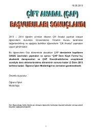 2013 ÇAP başvuruları DUYURU-16.09.2013