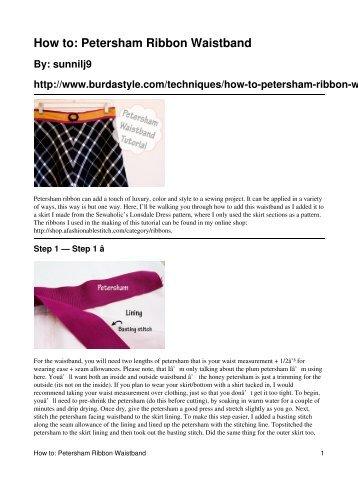 How to: Petersham Ribbon Waistband - BurdaStyle.com