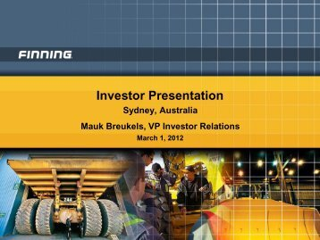 View this Presentation - Finning International Inc.
