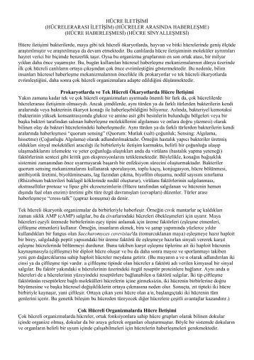HÜCRE İLETİŞİMİ (HÜCRELERARASI İLETİŞİM ... - E-Universite