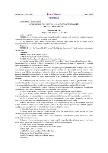 Resmî Gazete - E-Universite - Namık Kemal Üniversitesi
