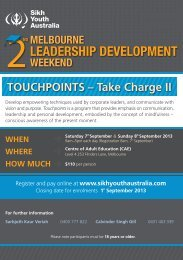 Click Here to download the Program Brochure. - Sikh Youth Australia