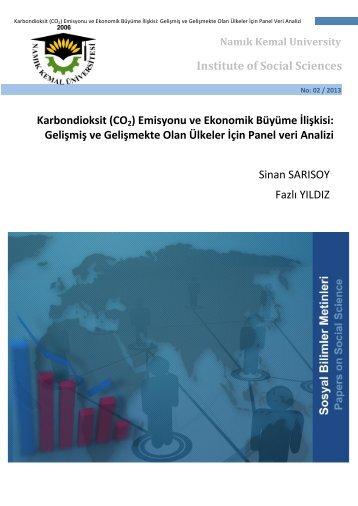 (CO2) Emisyonu ve Ekonomik Büyüme İlişkisi - E-Universite - Namık ...