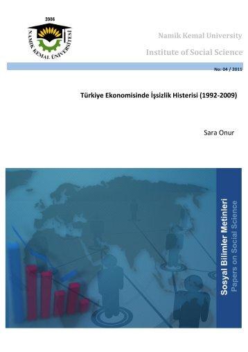 Türkiye Ekonomisinde İşsizlik Histerisi - E-Universite - Namık Kemal ...