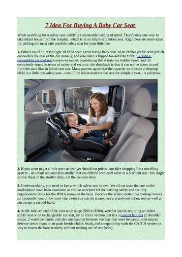 7 Idea For Buying A Baby Car Seat