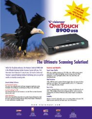 OneTouch 8900 USB Datasheet - Visioneer Product Support and ...