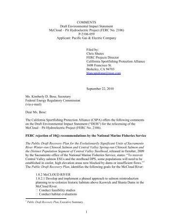 1 COMMENTS Draft Environmental Impact Statement McCloud – Pit ...