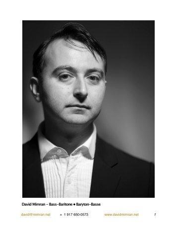 David Mimran - Bass-Baritone • Baryton-Basse - 100-word bio